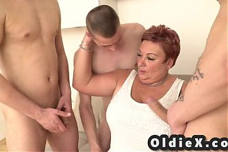 Old and young, grandma pays 3 step sons to fuck her
