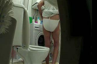 Enjoy my old mum in toilet. Hidden cam